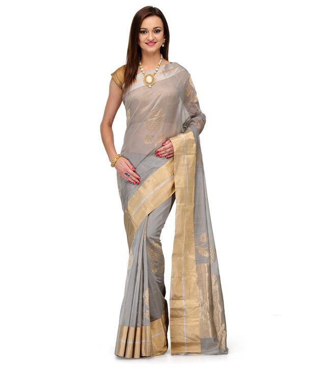 Fabroop Gray Cotton Silk Saree