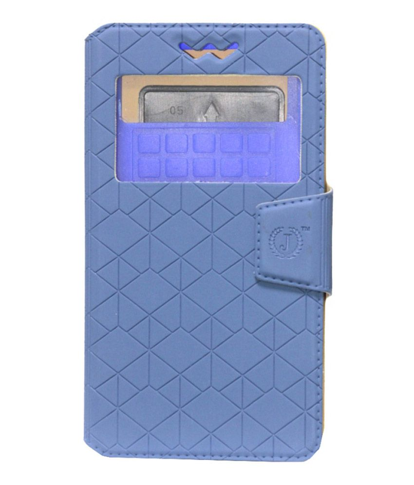 Jo Jo Leather Flip Cover With Silicon Holder For Lava Iris 400s - Blue