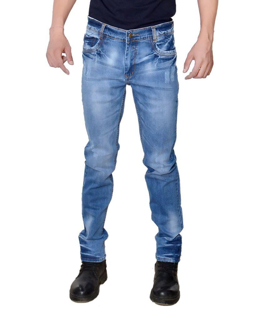 Karya Blue Cotton Faded Slim Fit Jeans