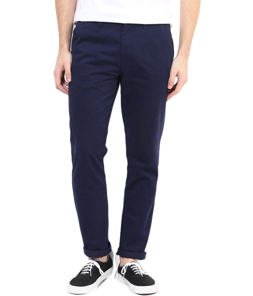 AD & AV Navy Comfort Fit Casual Chinos