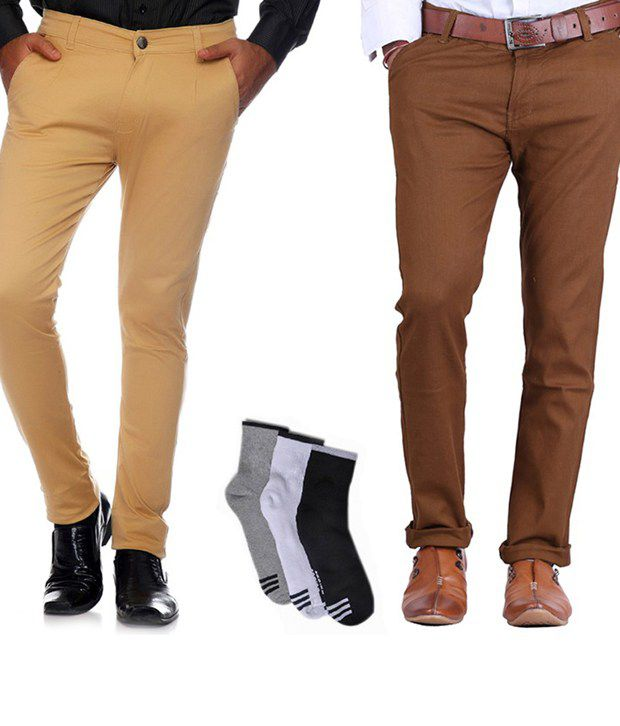 AVE Brown and Tan Cotton Lycra Formal Trousers with Combo of Free Socks