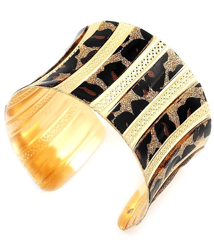 Jewellerywale Golden & Black Brass Hand Cuff