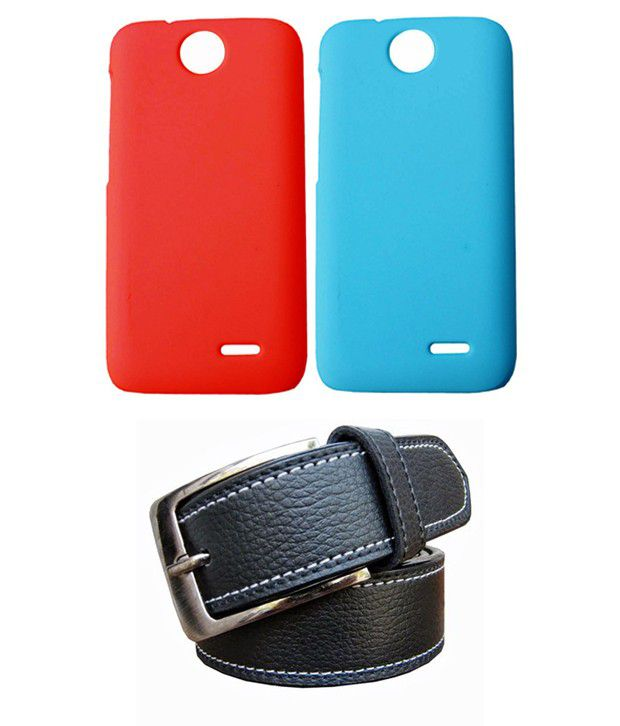 Winsome Deal Black Belt with 2 Back Cover Cases for HTC Desire 310