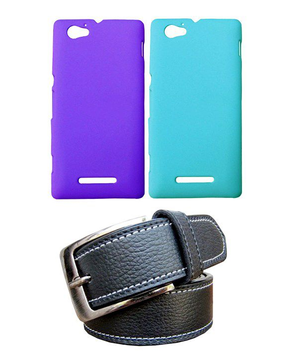 Winsome Deal Black Belt with 2 Back Cover Cases for Sony Xperia M