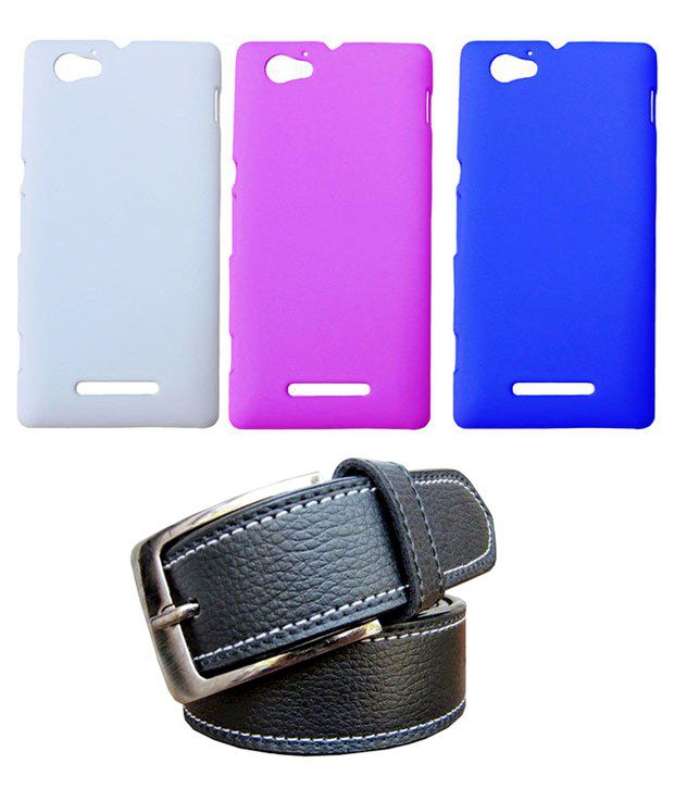 Winsome Deal Black Belt with 3 Back Cover Cases for Sony Xperia M
