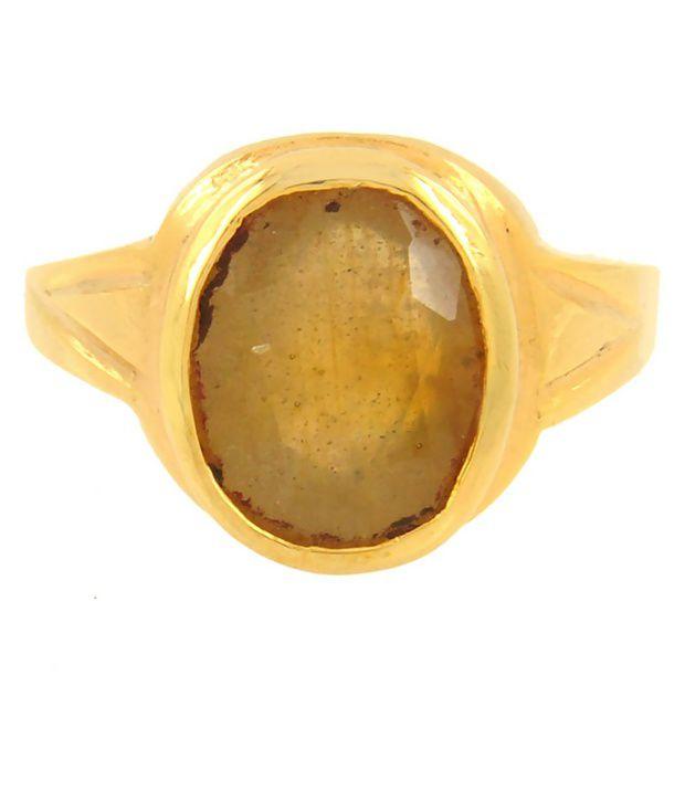 Barishh 4.25 Ratti Yellow Sapphire Ring in Panchdhatu