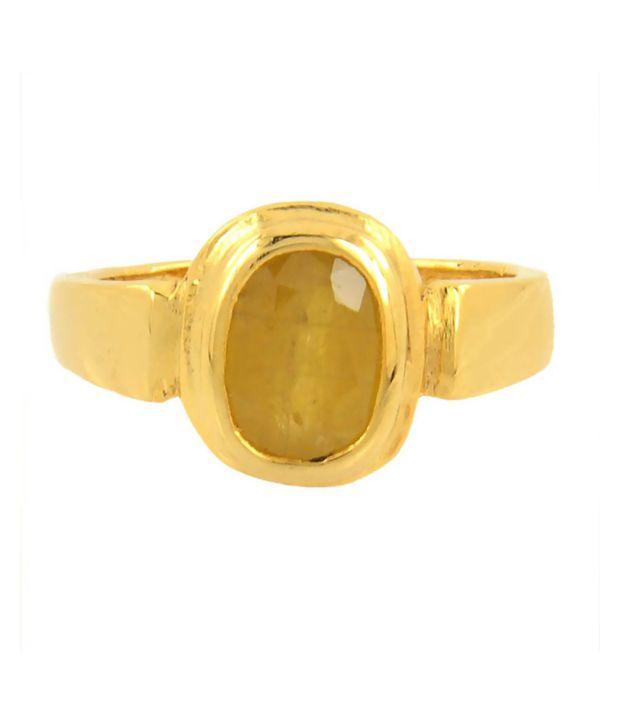 Barishh 5 25 Ratti Yellow Sapphire Pukhraj Ring Buy Barishh 5 25