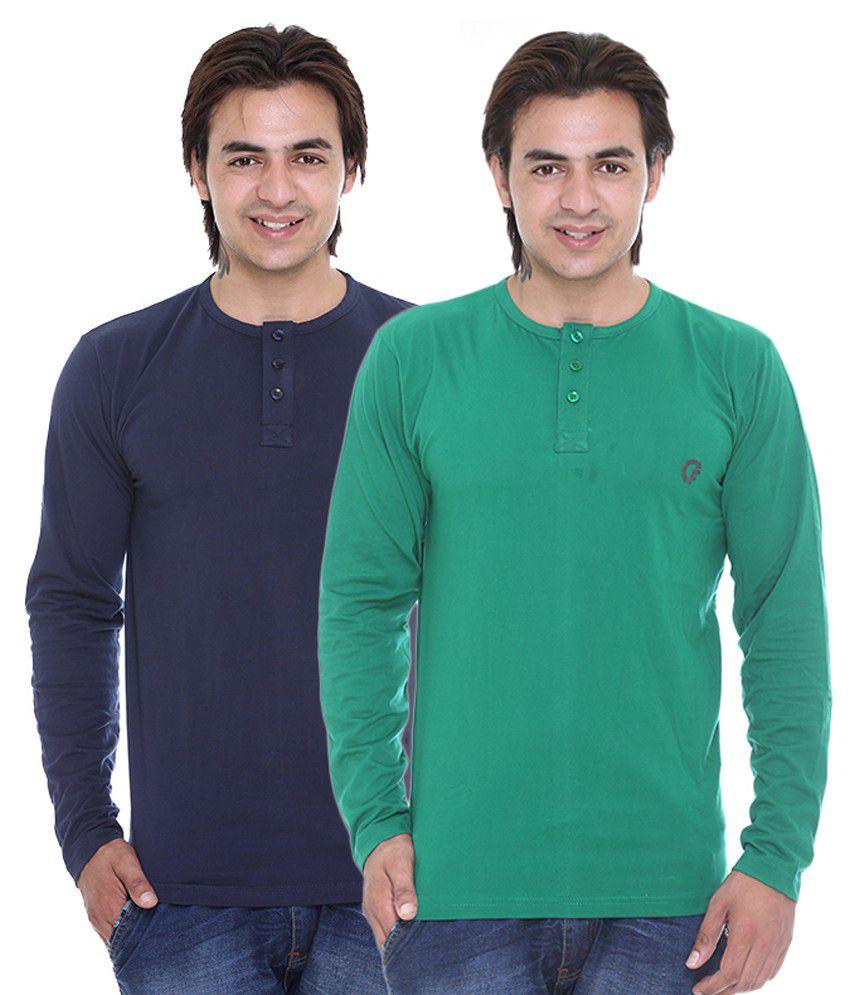 Cee For Dark Blue & Dark Green Henley T-Shirt Combo Pack Of -2
