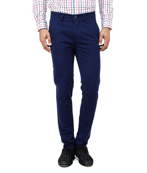 Uber Urban Blue 100 % Slim Fit Rocky Casual Trouser For Mens