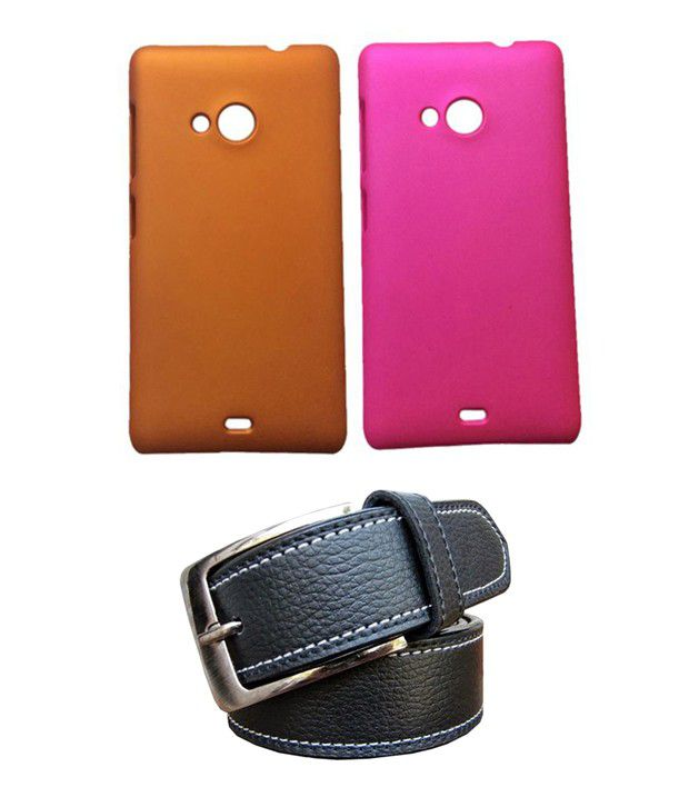 Winsome Deal Black Belt with 2 Back Cover Cases for Nokia LUMIA 535