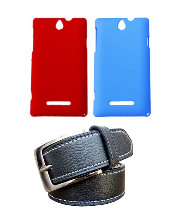 Winsome Deal Black Belt with 2 Back Cover Cases for Sony Xperia E
