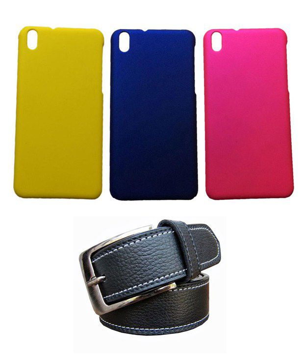 Winsome Deal Black Belt with 3 Back Cover Cases for HTC Desire 816
