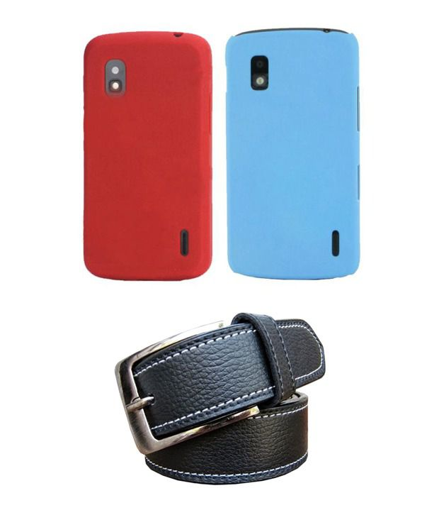 Winsome Deal Black Belt with 2 Back Cover Cases for LG Nexus 4 E963