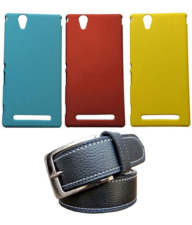 Winsome Deal Black Belt with 3 Back Cover Cases for Sony Xperia T2
