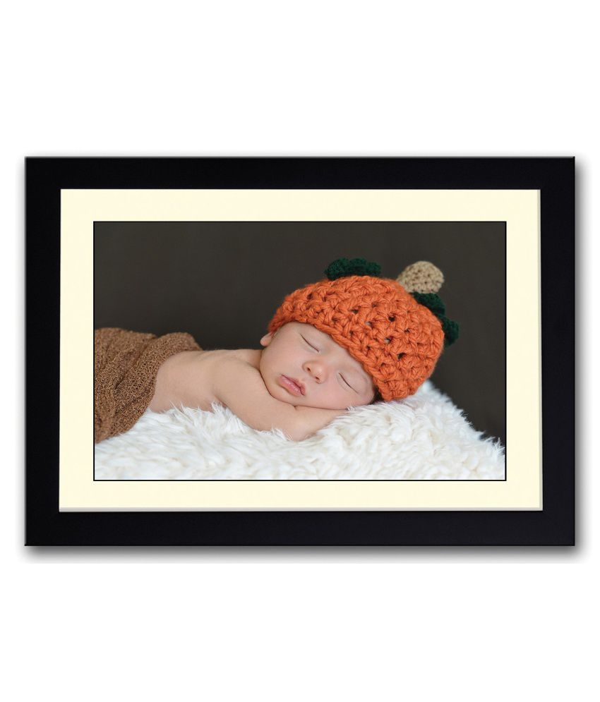Artifa Matte Baby In A Cute Orange Hat Painting With Metal Frame