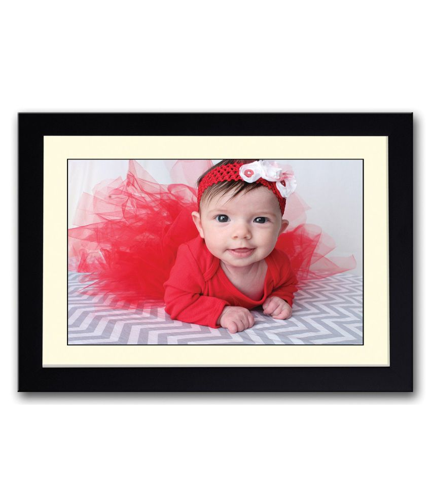 Artifa Matte Baby In Red Dress Looking Painting With Metal Frame