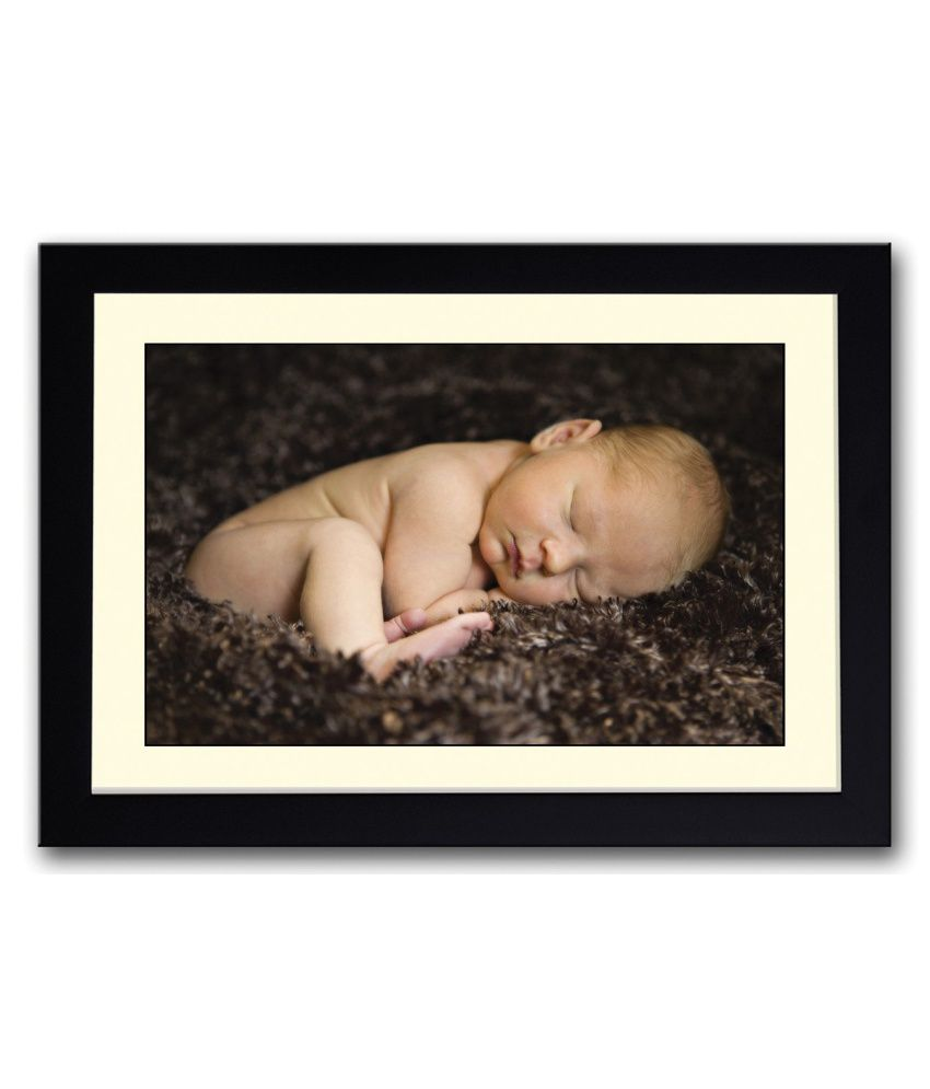 Artifa Matte Baby On Brown Carpet Painting With Metal Frame