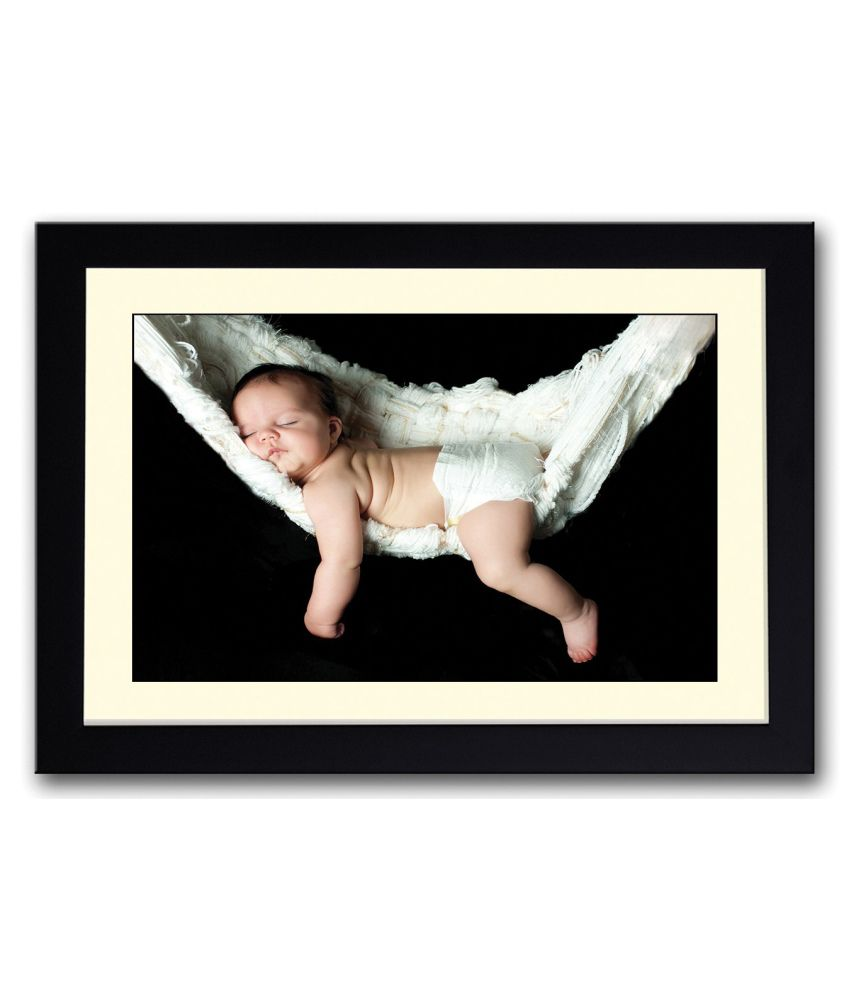Artifa Matte Baby Sleeping In A Swing Painting With Wood Frame