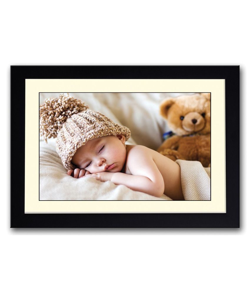 Artifa Matte Baby Sleeping With Brown Teddy Painting With Metal Frame