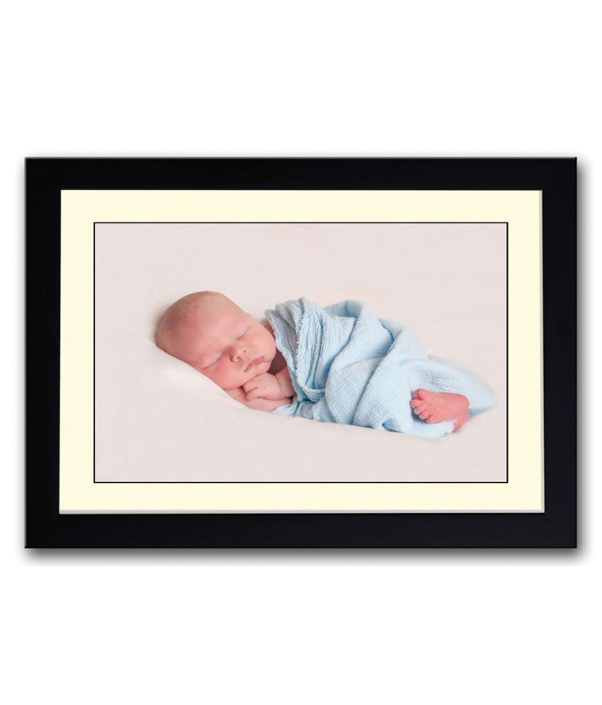 Artifa Matte Wrapped In Blue Cute Baby Painting With Metal Frame