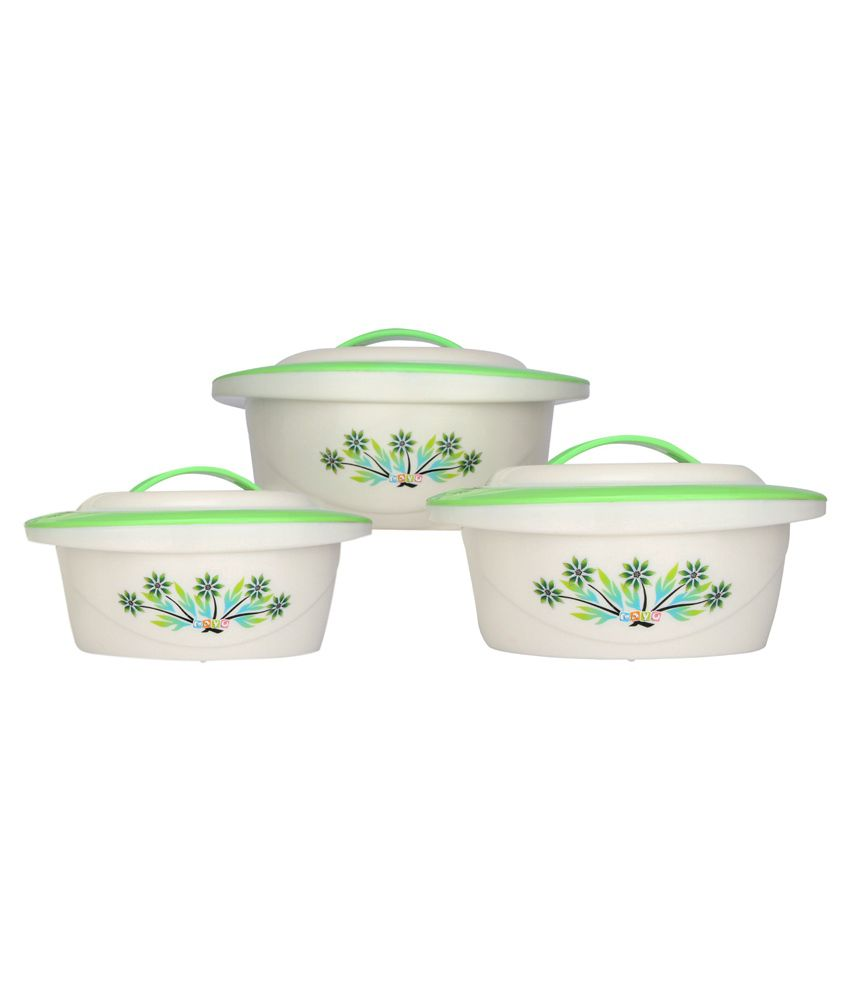 Mayo Green Set Of 3 Plastic Casseroles