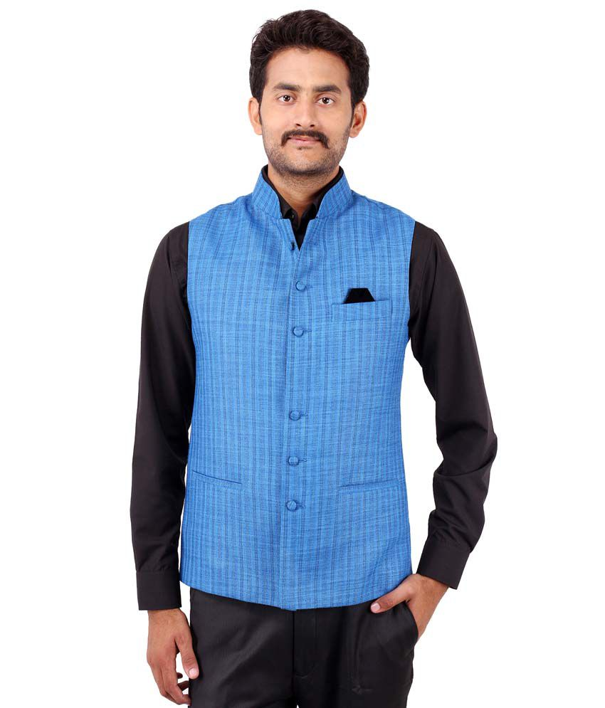 Platinum Studio Blue Cotton Blend Waistcoats