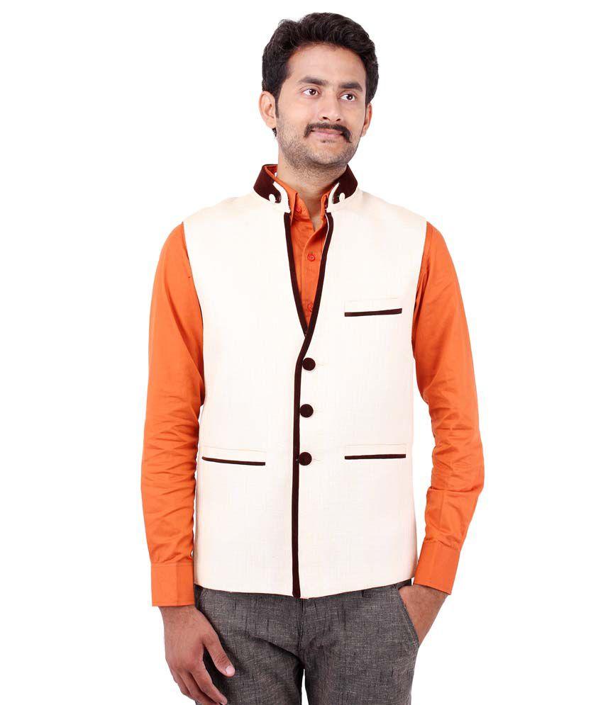 Platinum Studio Off-white Cotton Blend Waistcoats