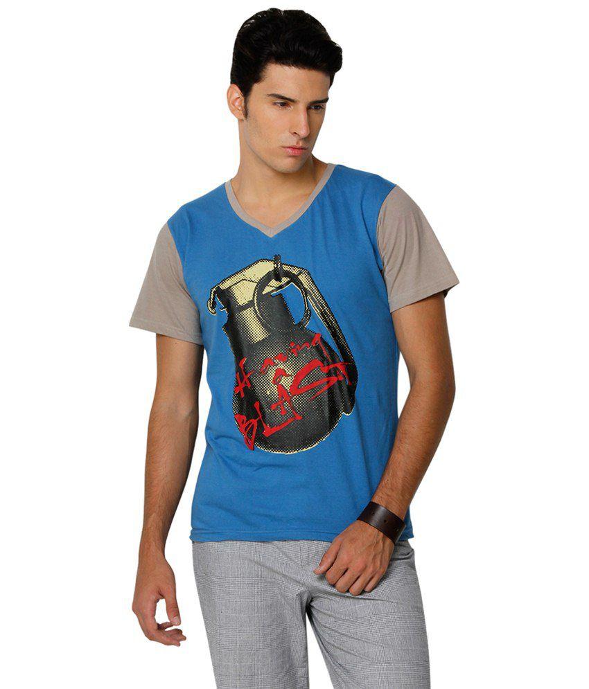 Yepme Blue & Grey Having a Blast V Neck Printed T Shirt for Men