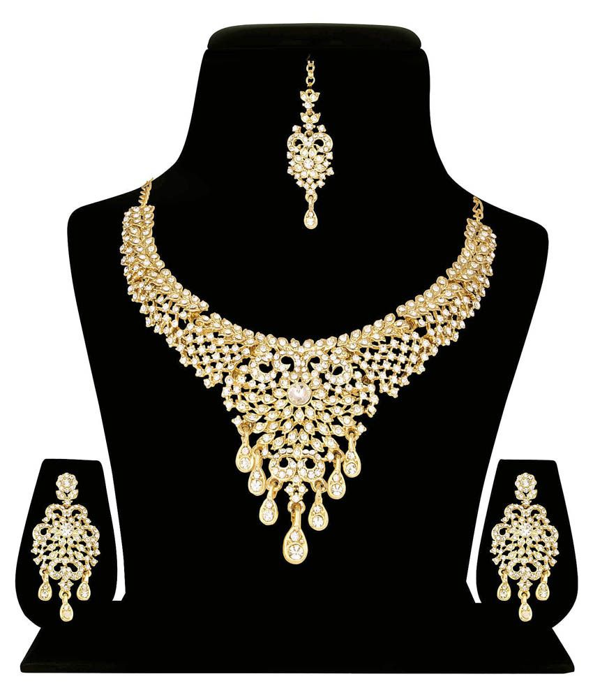Atasi International Golden Austrian Diamond Necklace Set