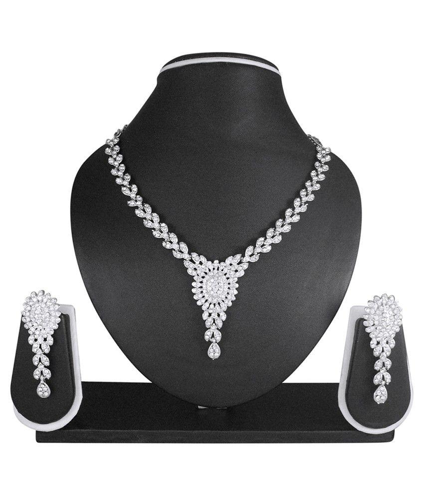 Atasi International Silver Alloy Necklace Set