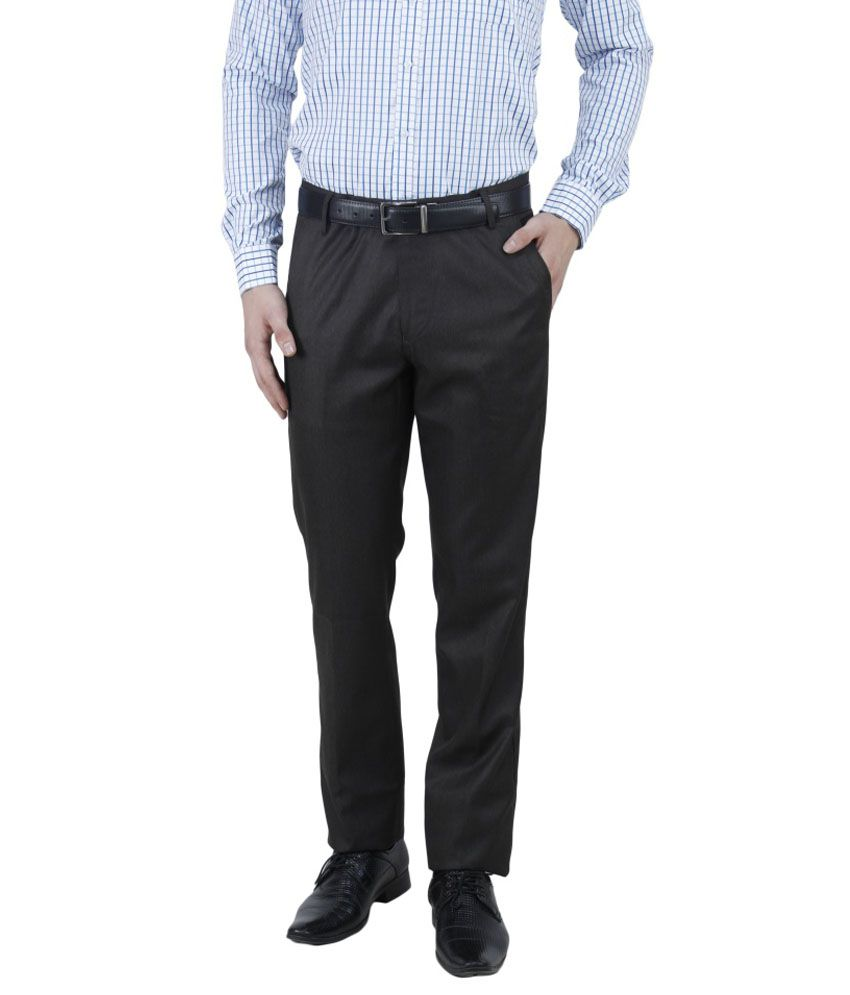 French Twins Black Poly Blend Slim Fit Formal Trousers For Men