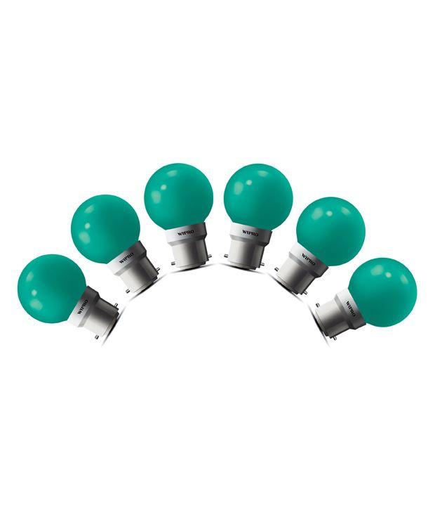 Wipro 0.5W (Pack of 6) LED Deco Bulb (Green)