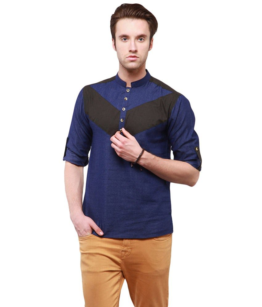 Black t shirt yepme - Yepme Blue Black Ryan Kurta Shirt For Men