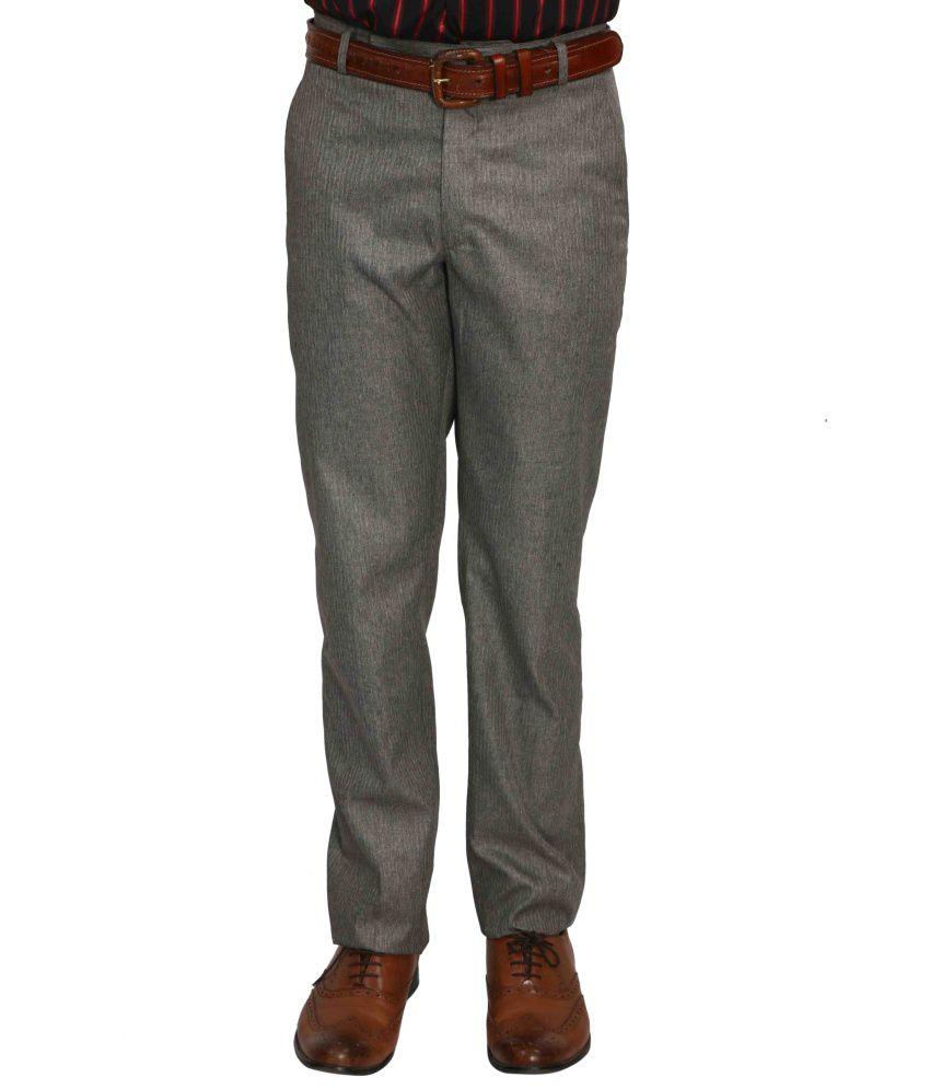 Bellavita Grey Cotton Blend Slim Fit Formal Trouser