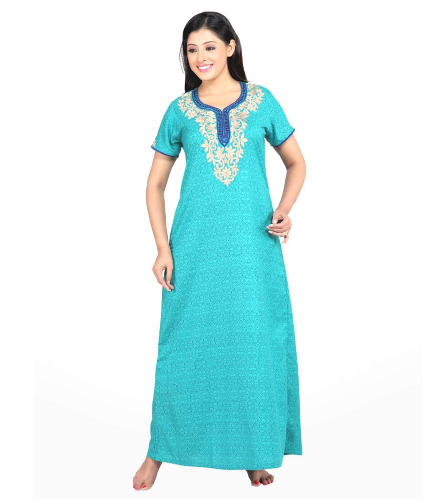 SANA Blue Cotton Nighty Embroidered Half Sleeves Non Transparent Floral Printed Nighty With Pocket