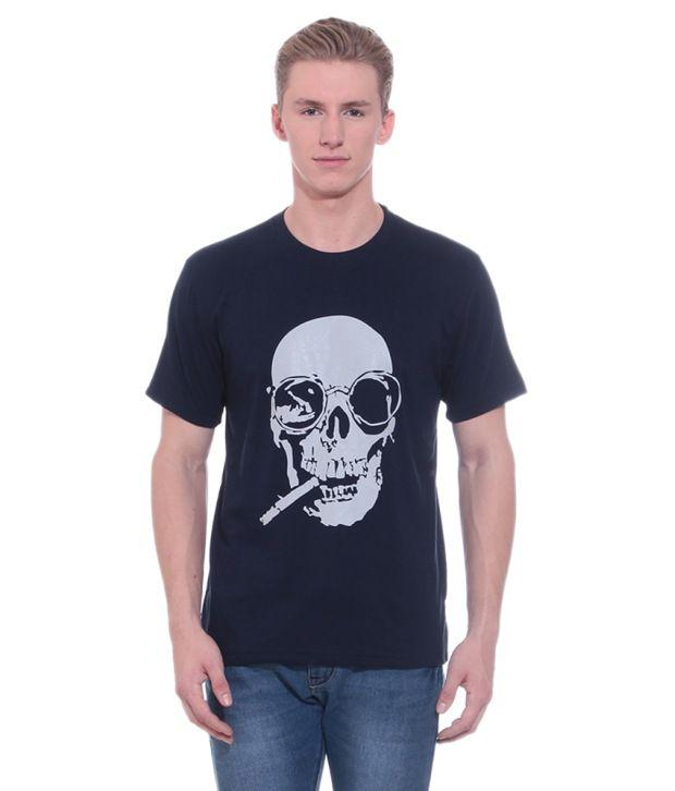 Shopdayz Navy Blue Cotton T Shirt