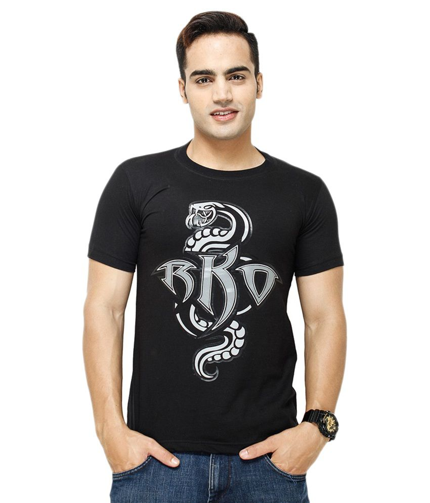 Attitude Black Cotton T-Shirt