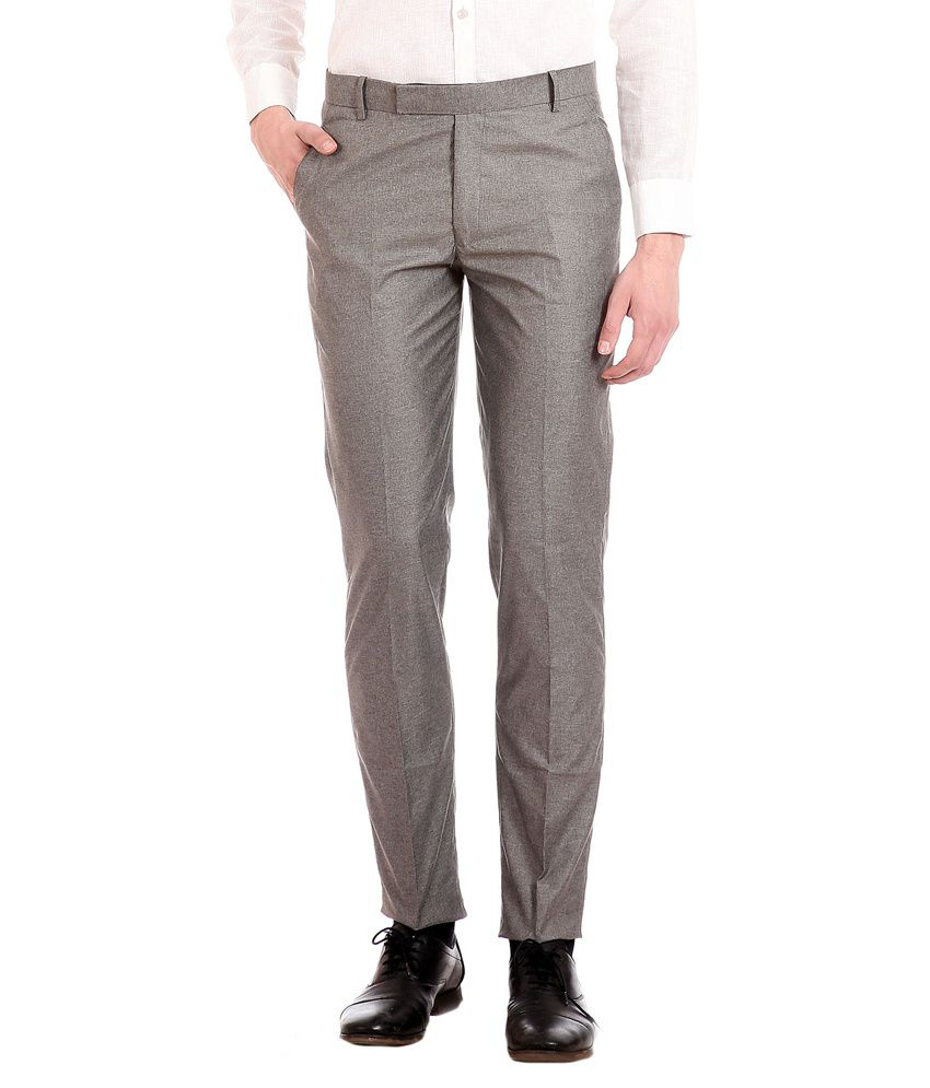 Flyjohn Grey Regular Fit Formal Trouser