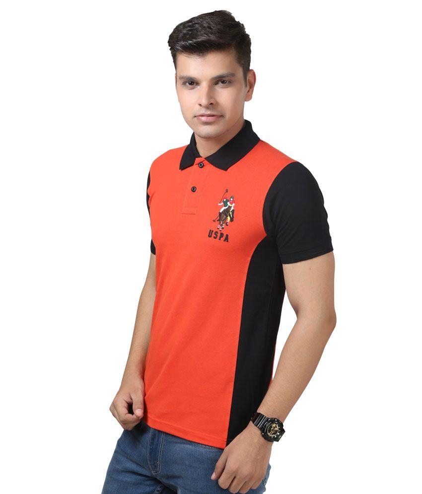Uspa Orange And Black Half Sleeves Basic Polo T- Shirt - Buy Uspa ...
