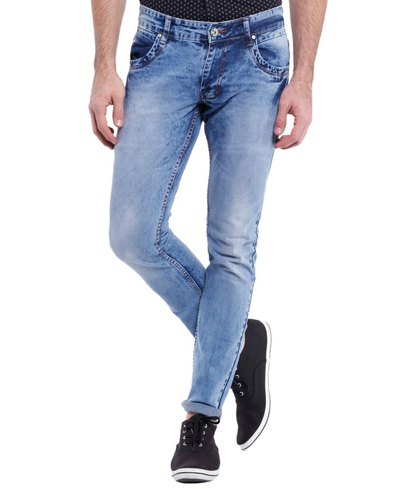 Vintage Fine Looking Light Blue Slim Fit Jeans for Men