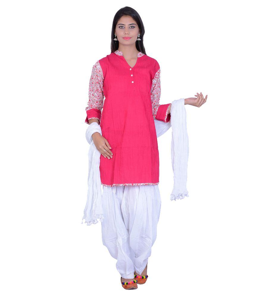 kaalindi Pink Cotton Stitched Suit