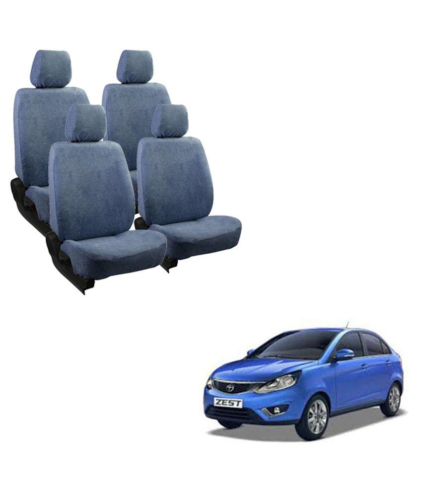 Allure Auto Cotton Blue Towel Seat Cover Complete Set
