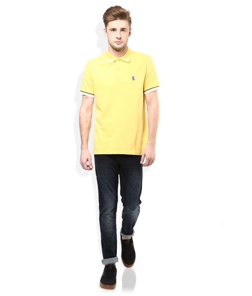 077a86da0 Giordano Yellow Solid Polo T Shirt Giordano Yellow Solid Polo T Shirt ...