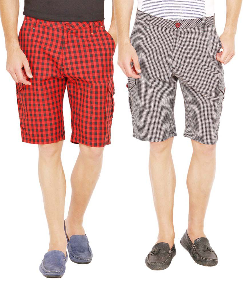 Wajbee Multicolor 100 Percent Cotton Check Shorts -Pack Of 2