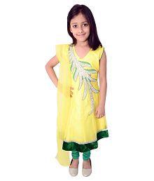 Arshia Fashions Yellow Net Sleeveless Salwar Suit