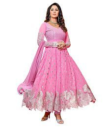 IndianEfashion Pink Faux Georgette Semi Stitched Dress Material