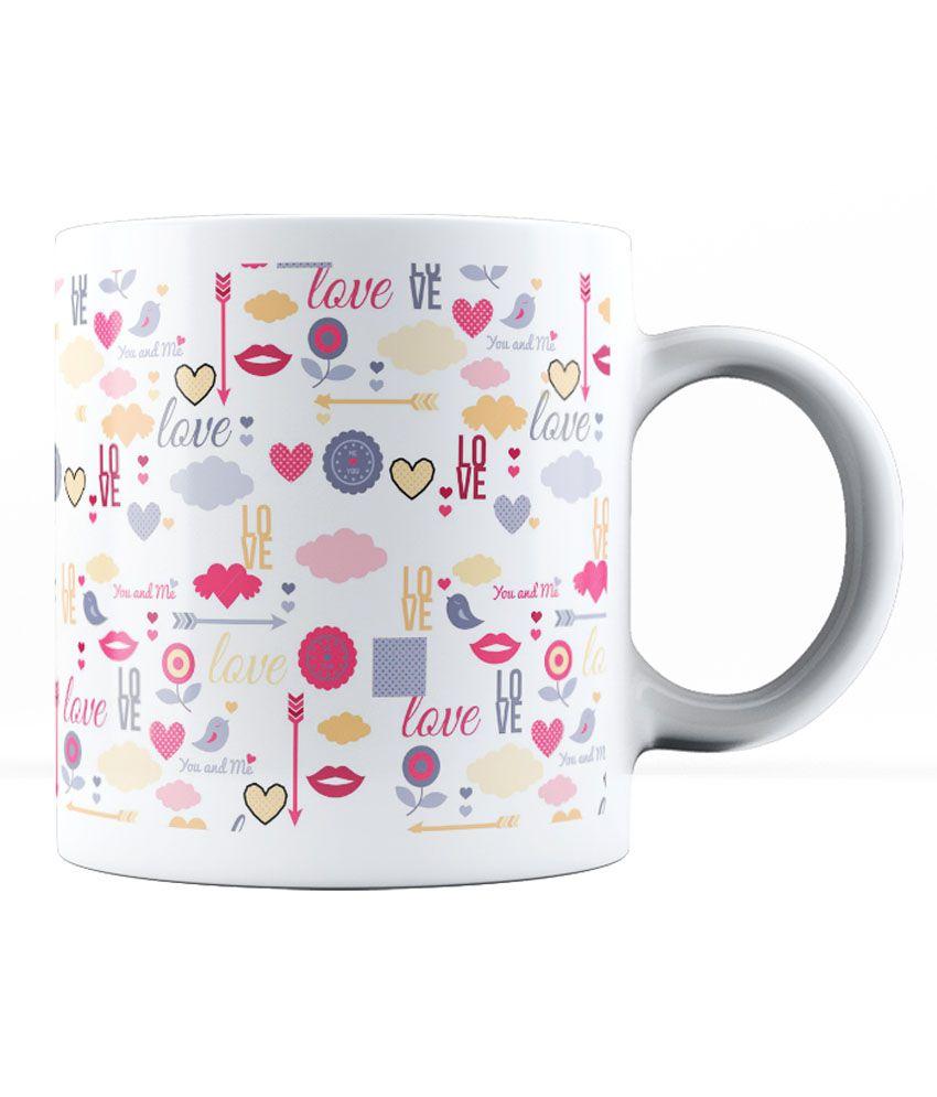lab no 4 ceramic love and lovely pattern ceramic mug. Black Bedroom Furniture Sets. Home Design Ideas