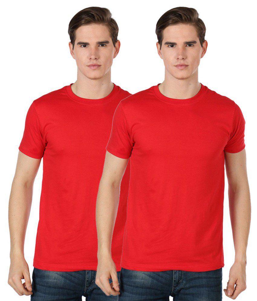 Sree Sai Vara Fashions Red Cotton Basic T Shirt Pack Of 2
