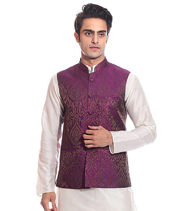 Tag 7 Purple Semi-Formal Nehru Jacket