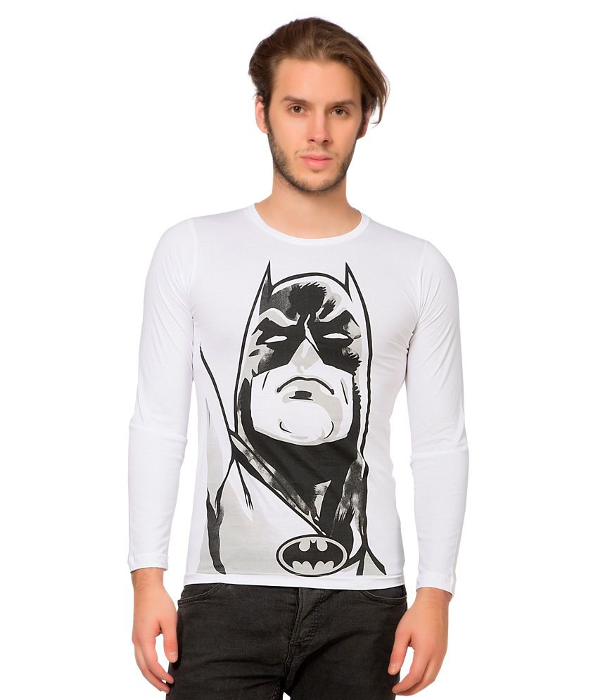 Alan Jones White Cotton Batman Printed Full Tshirt